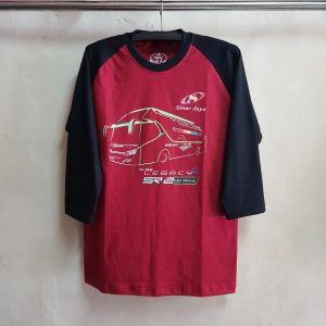 Kaos Glow in The Dark Maroon-Hitam, Raglan 3/4